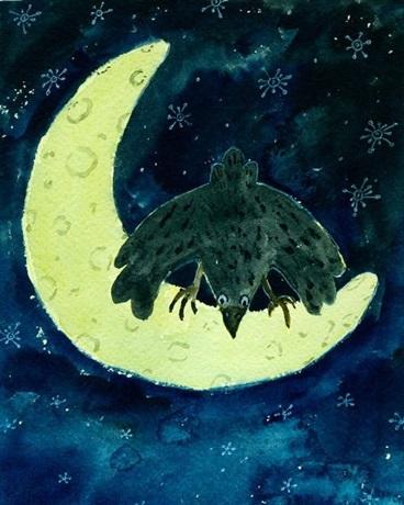 月光下的乌鸦
