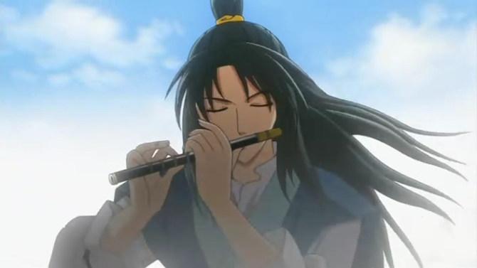 卡通男生吹笛子
