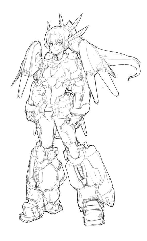 代号:Dragon Strike龙袭 编号:ARX-001 服役时间:2035 简介:龙袭是全球第一款实战用陆战型骑姬甲,配备给特甲队使用。在设计之初,龙袭骑姬甲就考虑了近战与远程打击两种需求,因此姬甲的上有不少外挂武器悬挂点。龙袭的双肩悬挂了两面搭载数个姿势协调喷口的小盾,可以在近战时使用,也可以射出作为近距离投掷打击。 外挂设备大大增加了姬甲的重量,因此龙袭的背部与腿部都安装了大型推进器,以维持机体的突进能力。由于当时技术力限制,机体的操控非常艰难,骑姬必须经过长期训练才能熟练运用这款骑姬甲。因此实